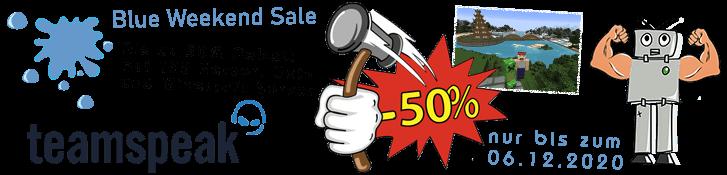 Jetzt bis zum 06.12.2020 bis zu 50% Rabatt auf verschiedene Produkte im Blue Weekend Sale